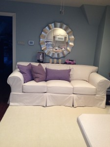 Slipcovered Leather Sofa